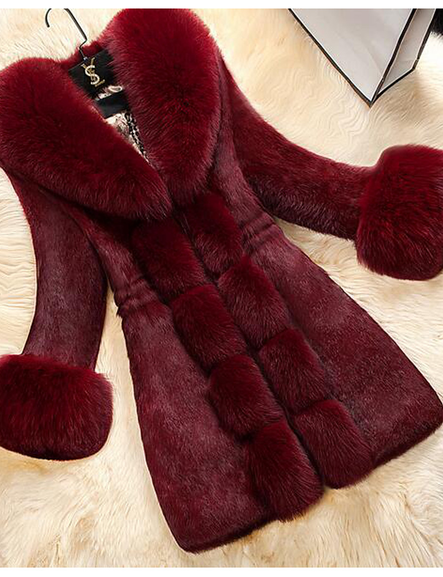 Women's Winter Fur Coat Maxi Solid Colored Daily White Black Red M L XL XXL / Going out