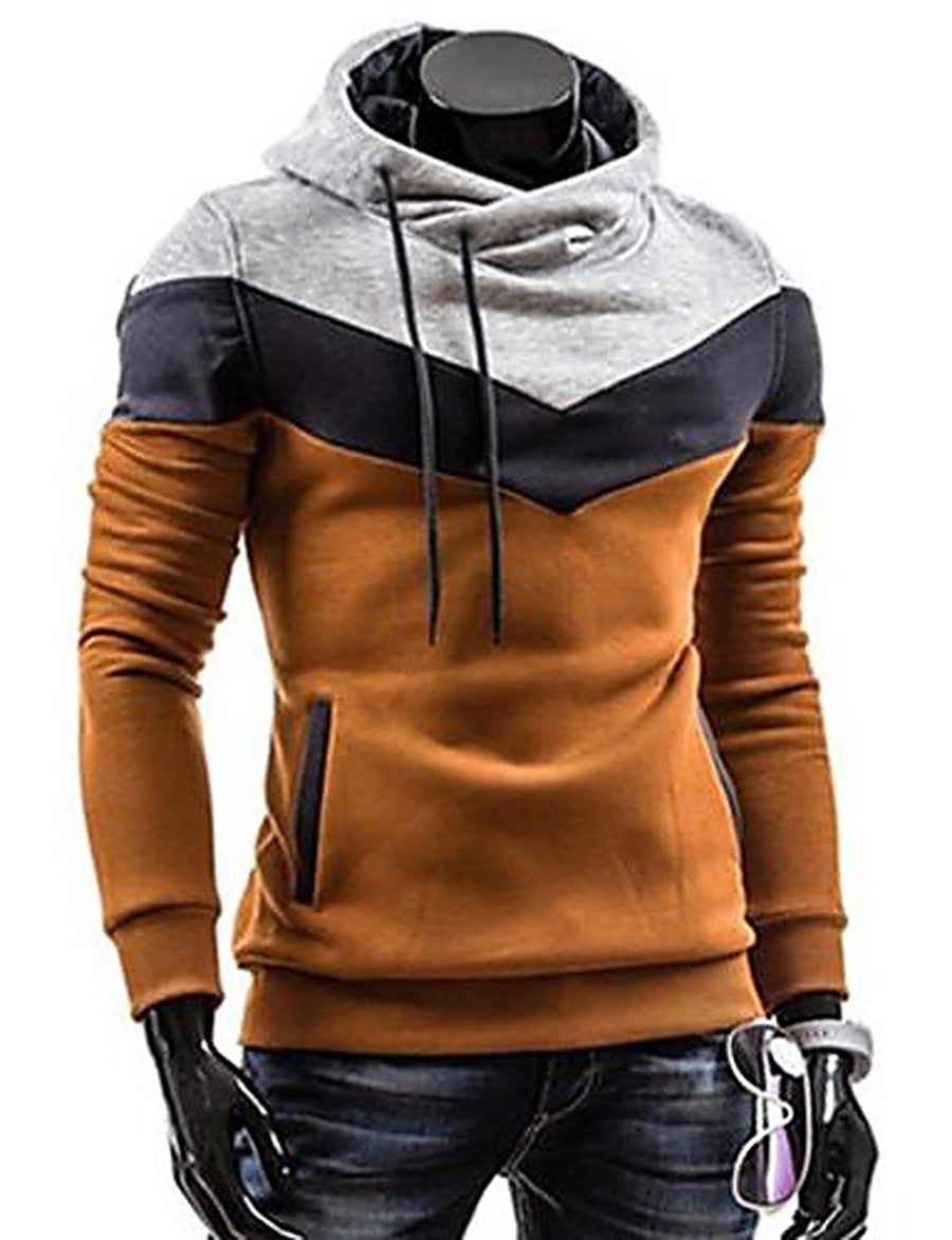 Men's Plus Size Sports Active Long Sleeve Slim Hoodie - Color Block Turtleneck Gray XL / Spring / Fall / Winter