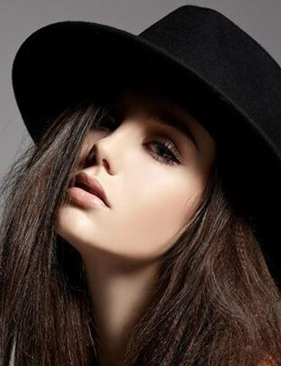 Women's Fedora Hat Party Wedding Daily Wine Black Pure Color Hat / Winter / Vintage