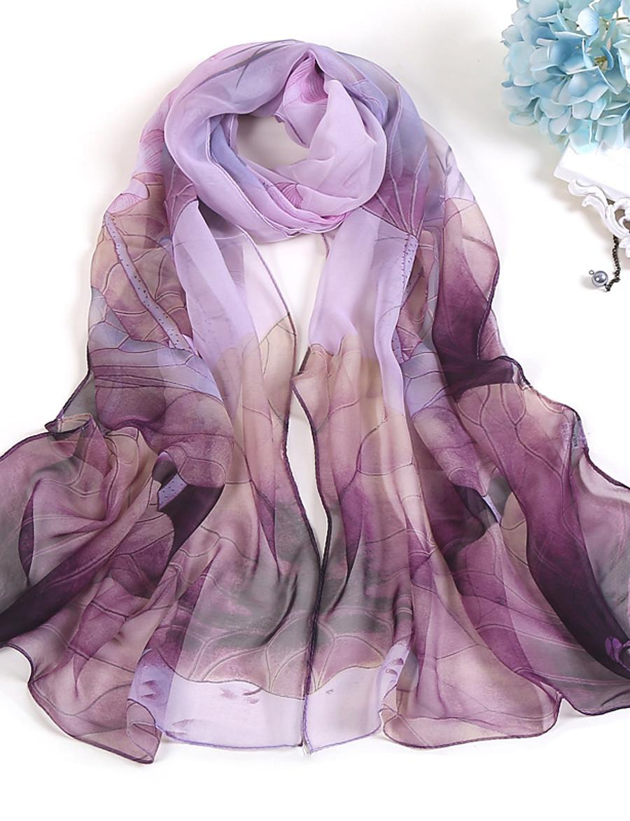 Women's Chiffon Scarf Red Party Scarf Tie Dye / Green / Purple / Gray / Fall / Winter