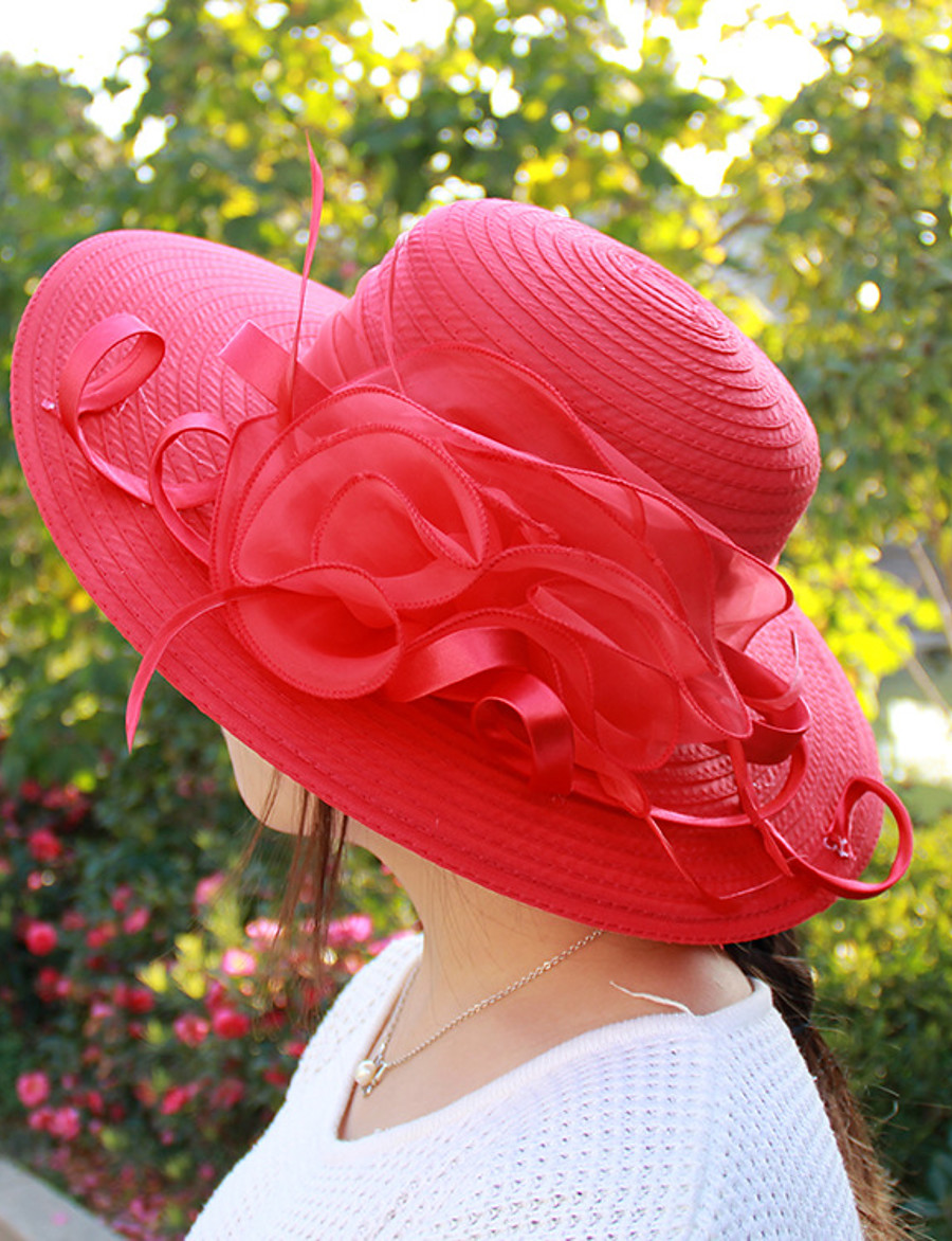 Women's Party Hat Flower Party Street Holiday Black White Solid Colored Hat / Cute / Pink / Fall / Winter / Spring