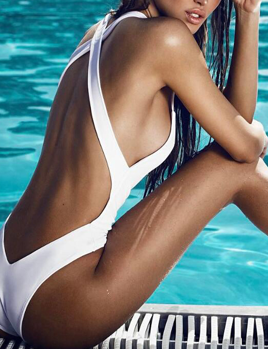 Women's Basic Sexy One-piece Swimsuit Backless Back Cross Solid Colored Strap Swimwear Bathing Suits White Black / Padded Bras