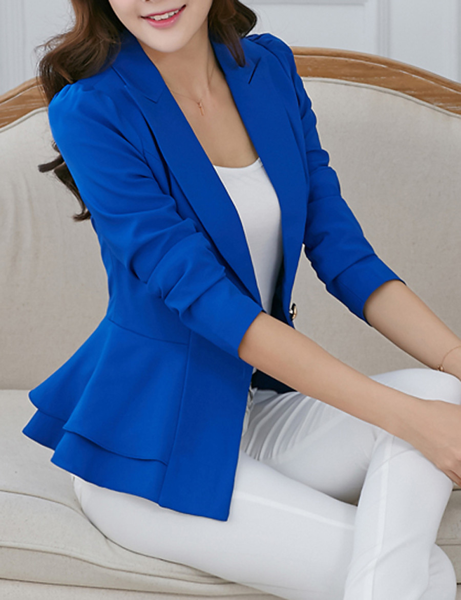 Women's Daily / Work Spring / Fall Short Blazer, Solid Colored Notch Lapel Long Sleeve Polyester Ruffle White / Black / Fuchsia