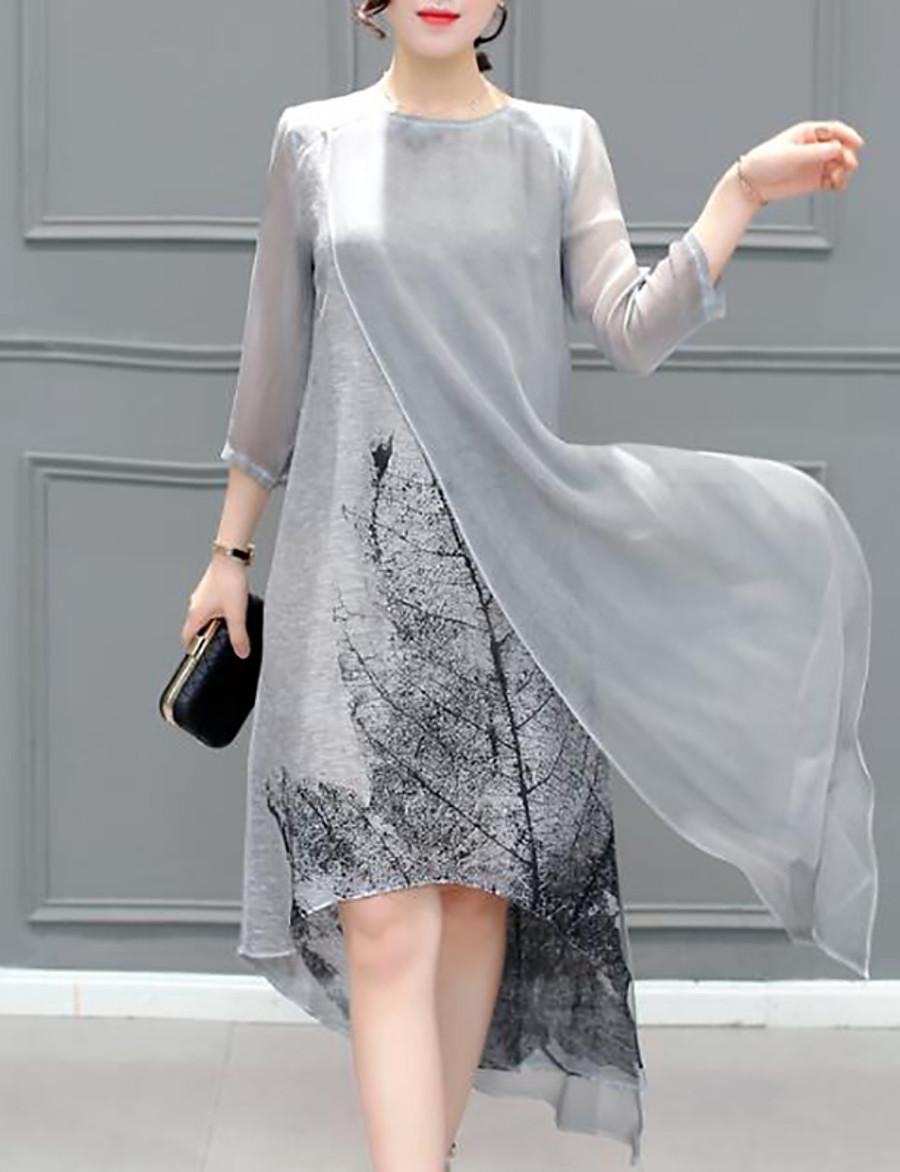 Women's Asymmetrical Plus Size Gray Dress Summer Going out Chiffon Print Layered S M