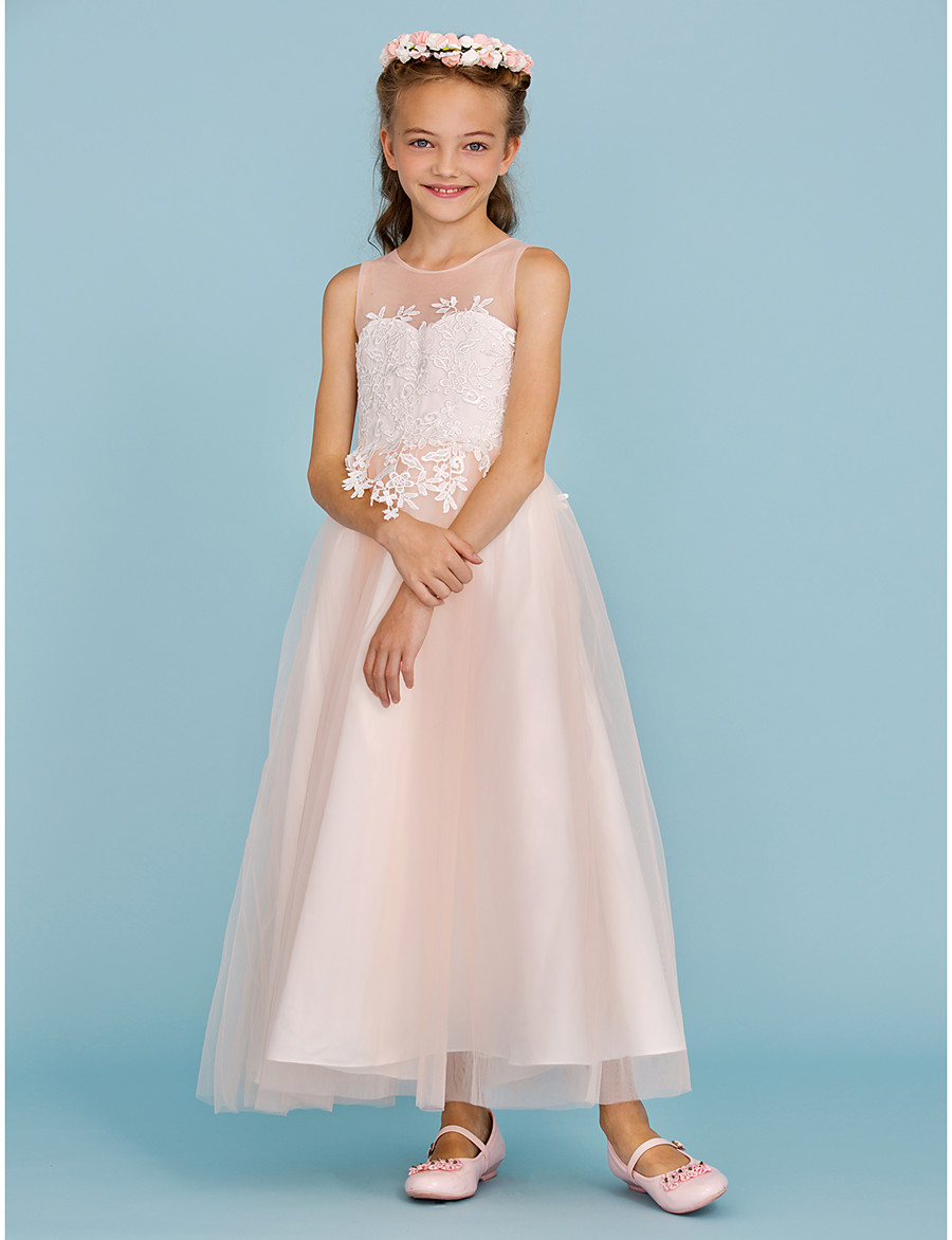 cd7d42b6715 ADOR A-Line   Princess Ankle Length Flower Girl Dress - Lace   Tulle  Sleeveless