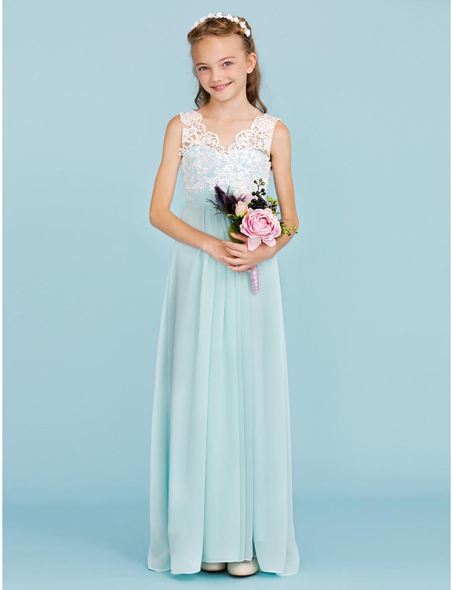 878108e017adc ADOR Sheath / Column V Neck Floor Length Chiffon / Lace Junior Bridesmaid  Dress with Sash