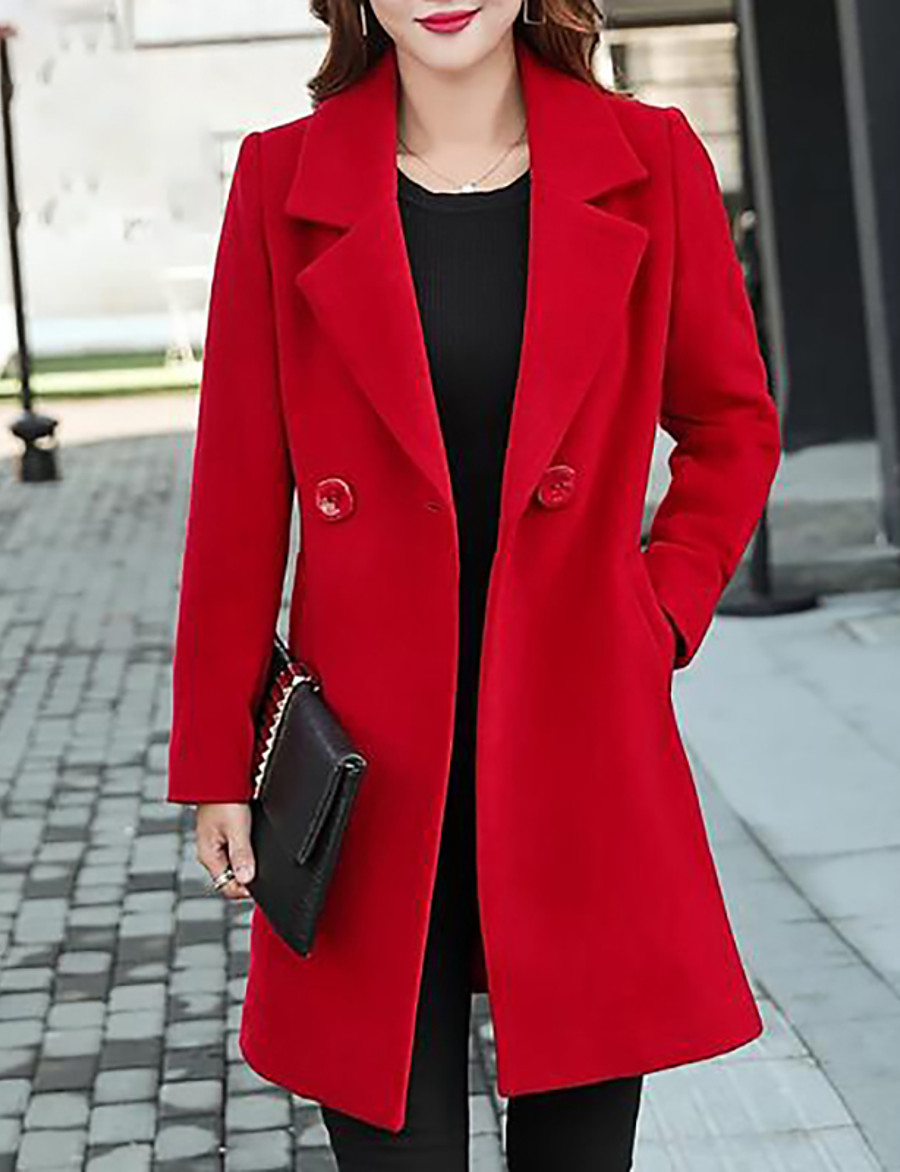 Women's Fall Shirt Collar Coat Long Solid Colored Daily Plus Size Cotton Black Blue Red Yellow M L XL XXL / Winter