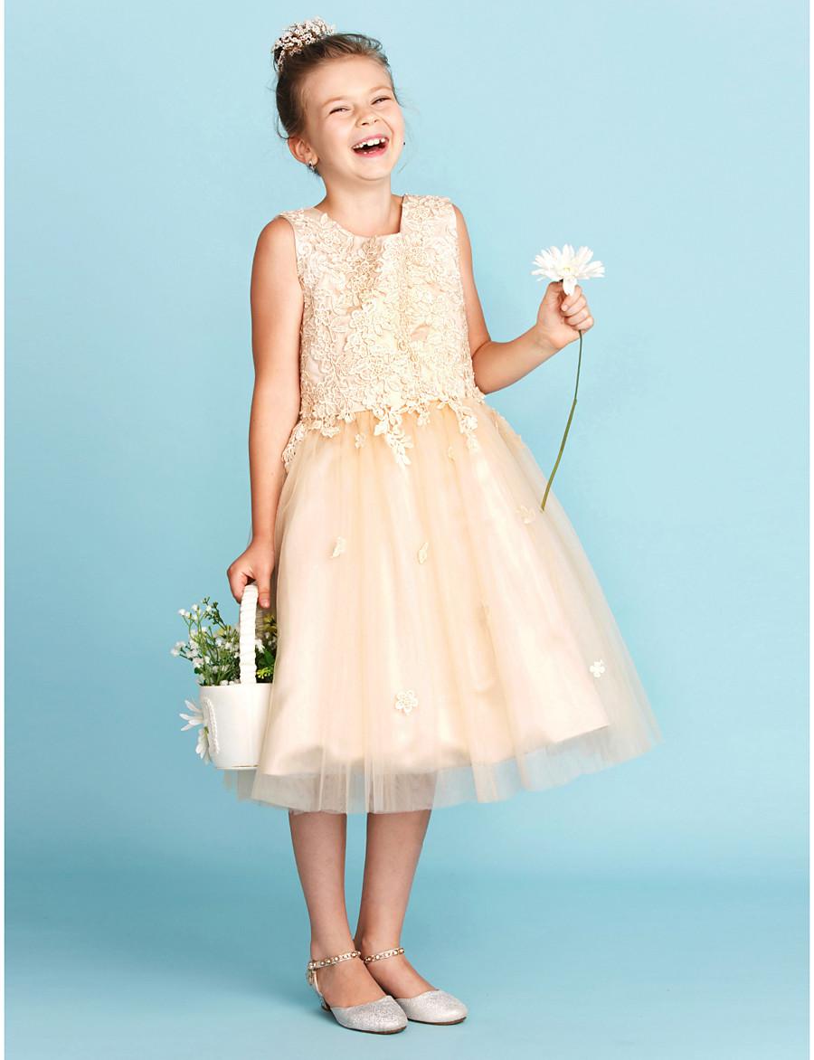 a6327fa98b1 ADOR A-Line   Princess Knee Length Flower Girl Dress - Lace   Tulle  Sleeveless