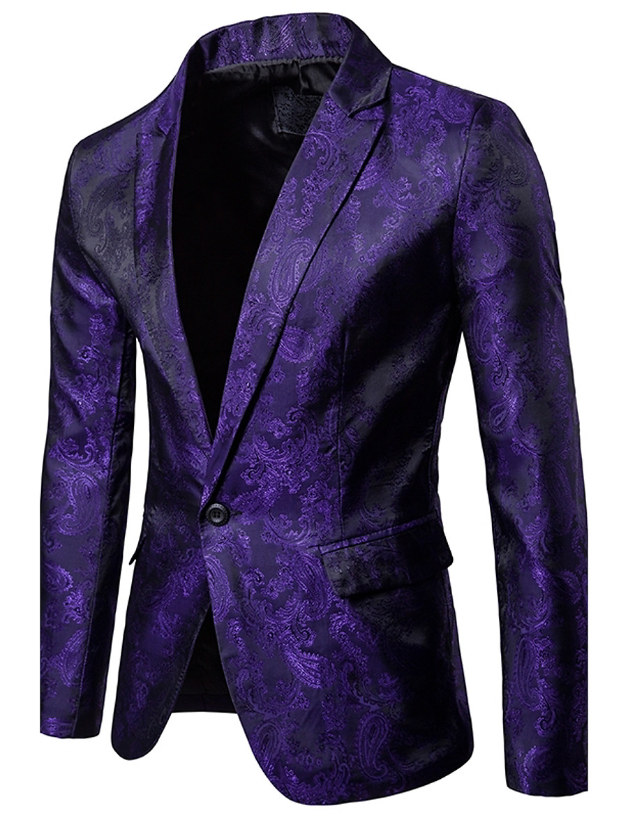Men's Party / Daily / Daily Wear Sophisticated Spring / Fall Regular Blazer, Solid Colored / Floral Shirt Collar Long Sleeve Polyester / Spandex Black / White / Purple / Slim