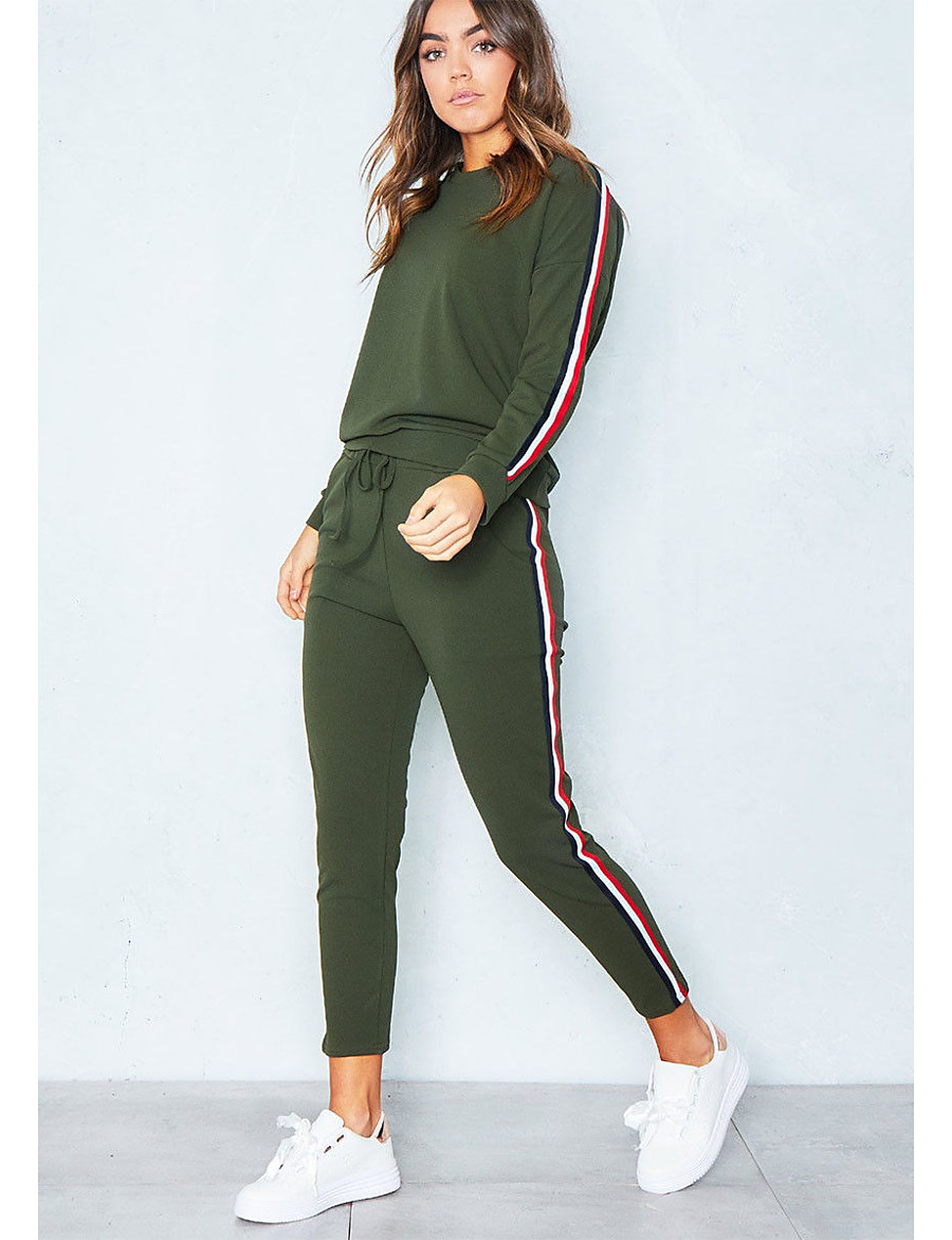 Women's Sports Casual Cotton Hoodie - Solid Colored, Stripe Pant / Winter / Sporty Look