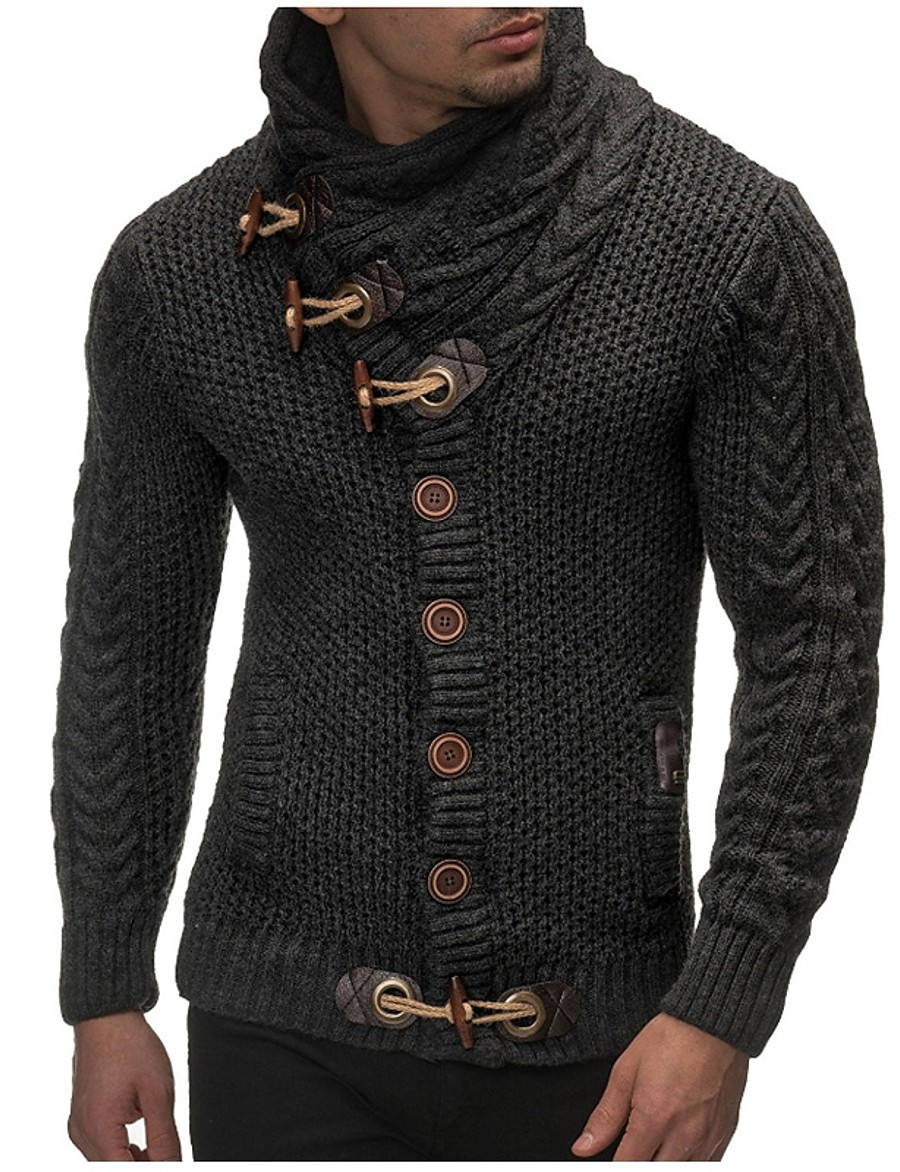 Men's Daily / Going out / Weekend Solid Colored Long Sleeve Slim Regular Cardigan Sweater Jumper, Turtleneck Fall / Winter Black / Brown / Dark Gray M / L / XL