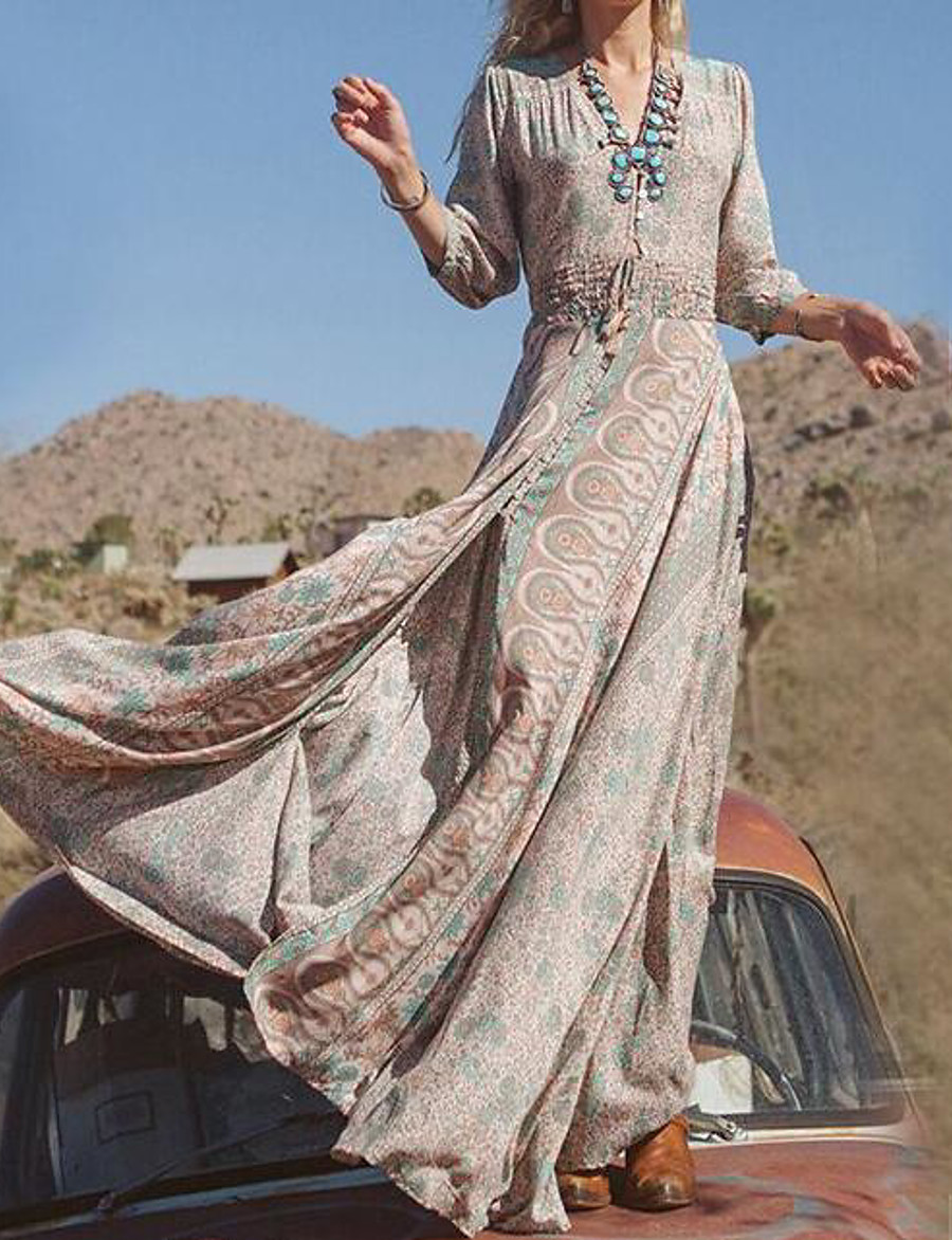 Women's Swing Dress Maxi long Dress - Long Sleeve Tribal Print Spring Fall V Neck Hot Boho Holiday vacation dresses Khaki S M L XL XXL 3XL 4XL 5XL