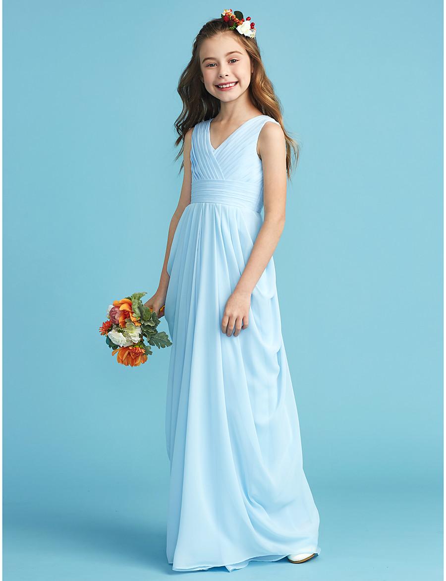 7540bd859db6e ADOR A-Line / Princess V Neck Floor Length Chiffon Junior Bridesmaid Dress  with Sash