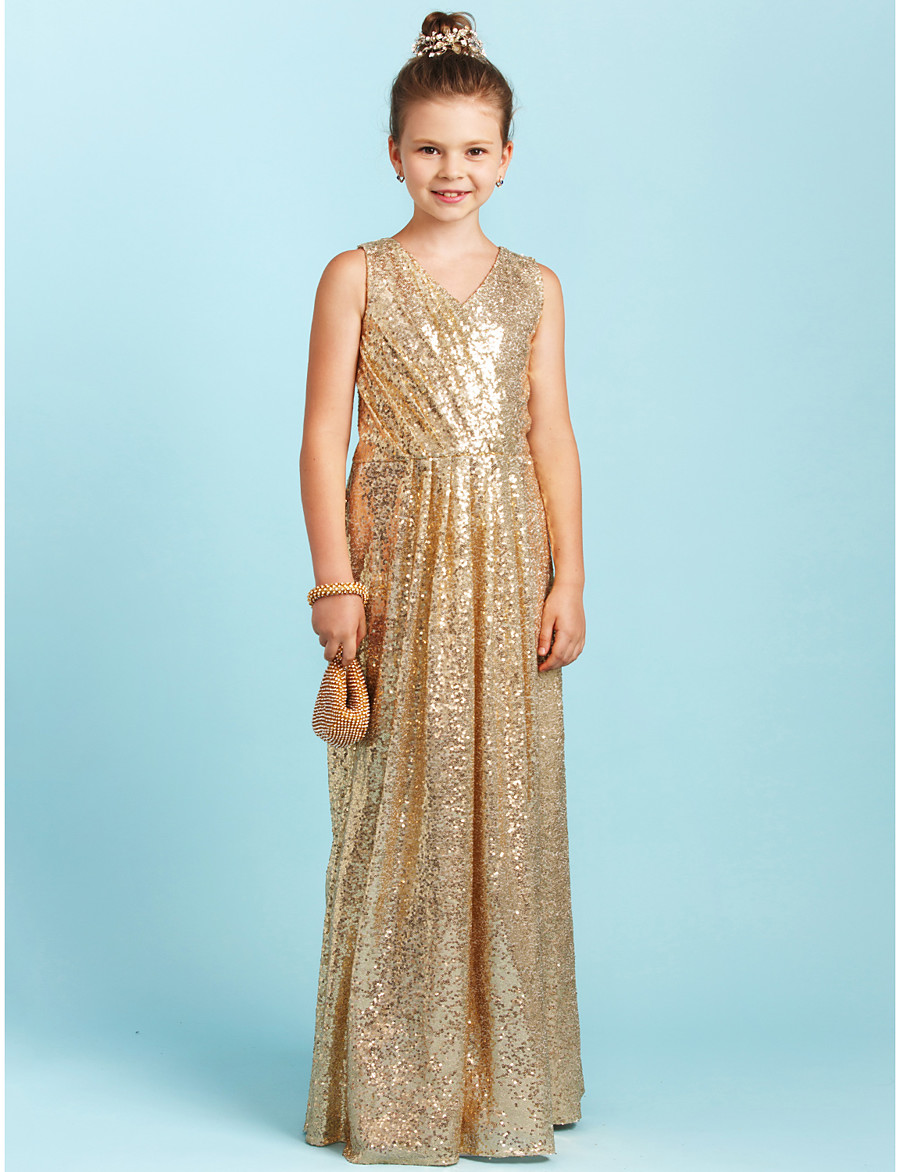 4f961bde9 ADOR A-Line / Princess V Neck Floor Length Sequined Junior Bridesmaid Dress  with Sequin