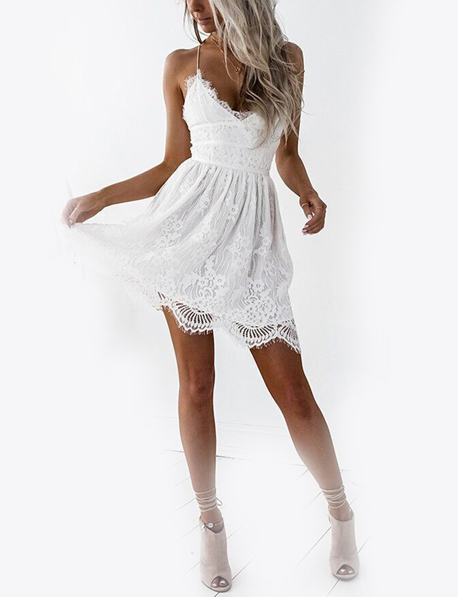 Women's Lace Mini White Dress Basic Summer Holiday Club A Line Solid Colored Strap V Neck White Lace S M Slim High Waist / Backless / Sexy