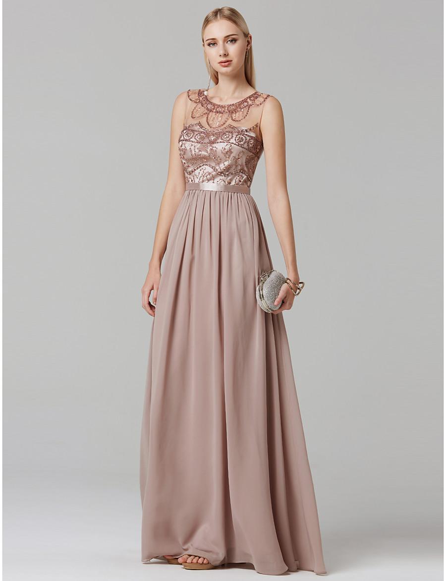 5ac296420b25 ADOR Evening Dress A-Line / Ball Gown Illusion Neck Floor Length Chiffon /  Tulle