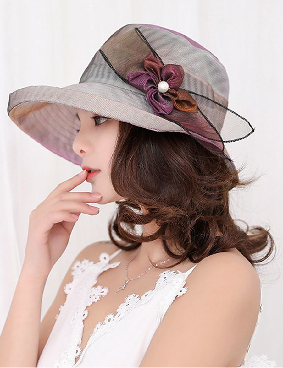 Women's Party Hat Flower Lace Party Wedding Street Beige Purple Solid Colored Hat / Fabric / Fall / Winter / Spring / Summer