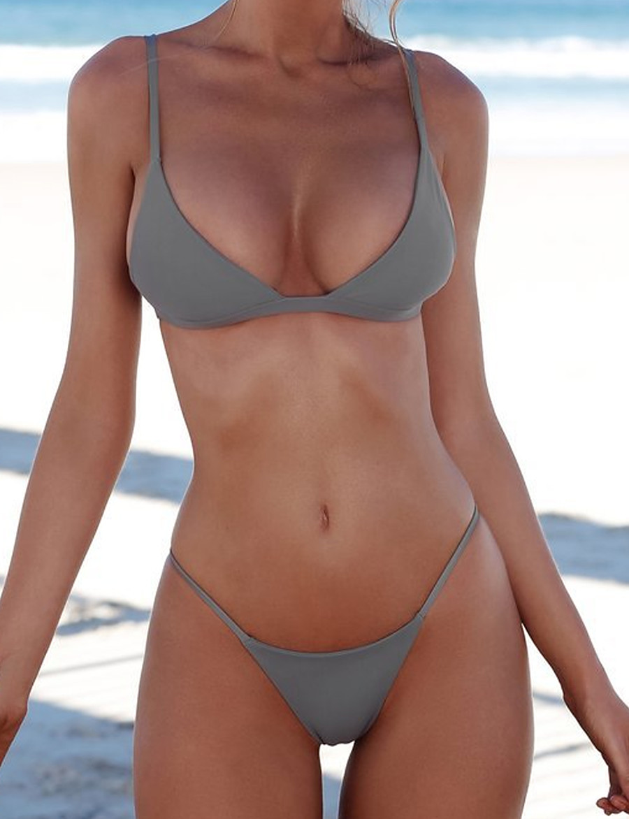 Women's Sexy Strap Wine White Black Triangle Thong Bikini Swimwear Swimsuit - Solid Colored S M L Wine