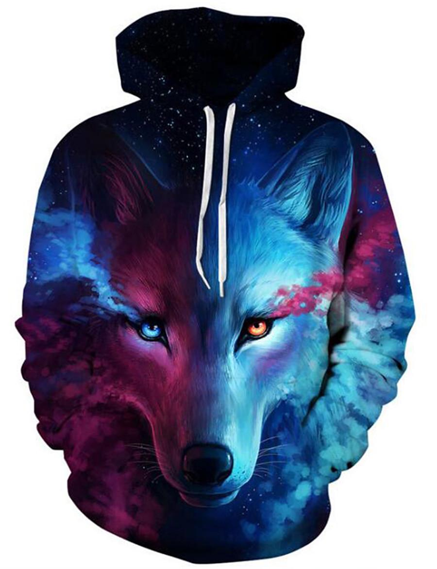 Men's Plus Size Active Long Sleeve Loose Hoodie & Sweatshirt - 3D Print Wolf, Modern Style Hooded Blue XXL / Fall / Winter