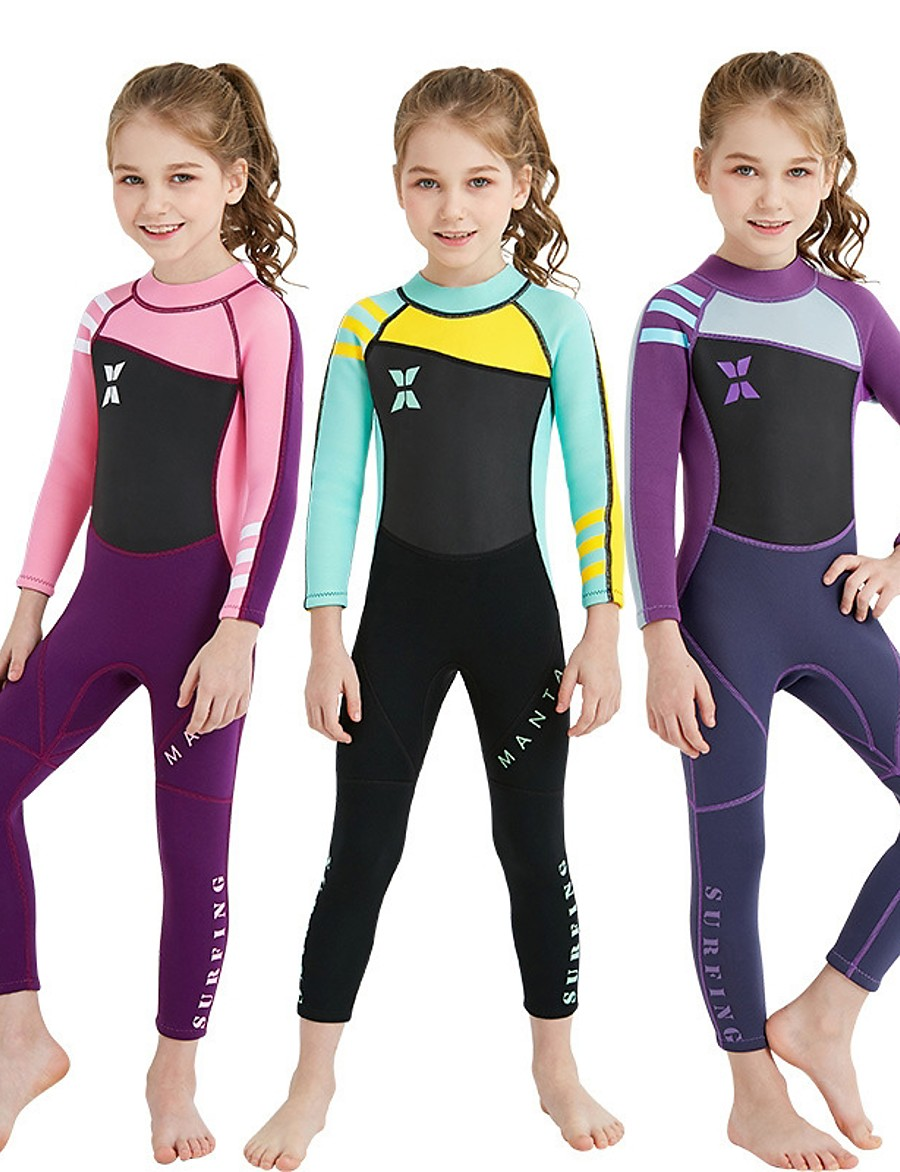 Dive&Sail Girls' Full Wetsuit 2mm Nylon SCR Neoprene Diving Suit UV Resistant High Elasticity Stretchy Long Sleeve Back Zip Patchwork / UPF50+