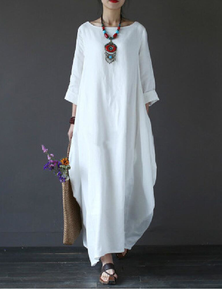 Women's Maxi long Dress - 3/4 Length Sleeve White Spring Fall Plus Size Casual Hot Cotton Oversized White Black Red Green Light Blue L XL XXL 3XL 4XL 5XL