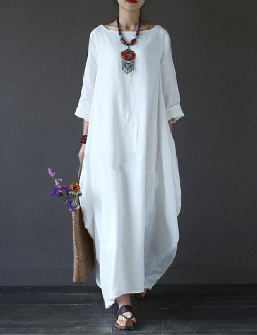 Women's Plus Size Maxi White Dress - 3/4 Length Sleeve Solid Colored Oversized Spring Fall Casual Weekend Loose White Black Red Green Light Blue L XL XXL XXXL XXXXL XXXXXL / Cotton