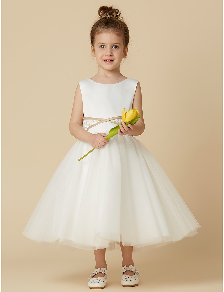 44839fe921fec ADOR Princess Tea Length Flower Girl Dress - Satin / Tulle Sleeveless Jewel  Neck with Appliques