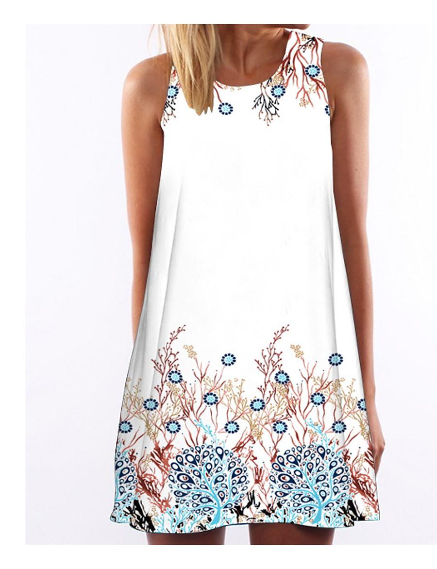 Women's Holiday Shift Dress - Animal Print Summer White S M L XL