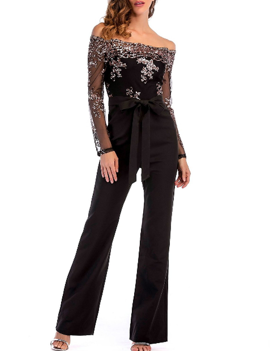 Women's Off Shoulder Lace Party / Going out Sexy Off Shoulder Black Slim Jumpsuit Onesie, Color Block / Solid Colored Sequins S M L Long Sleeve Summer