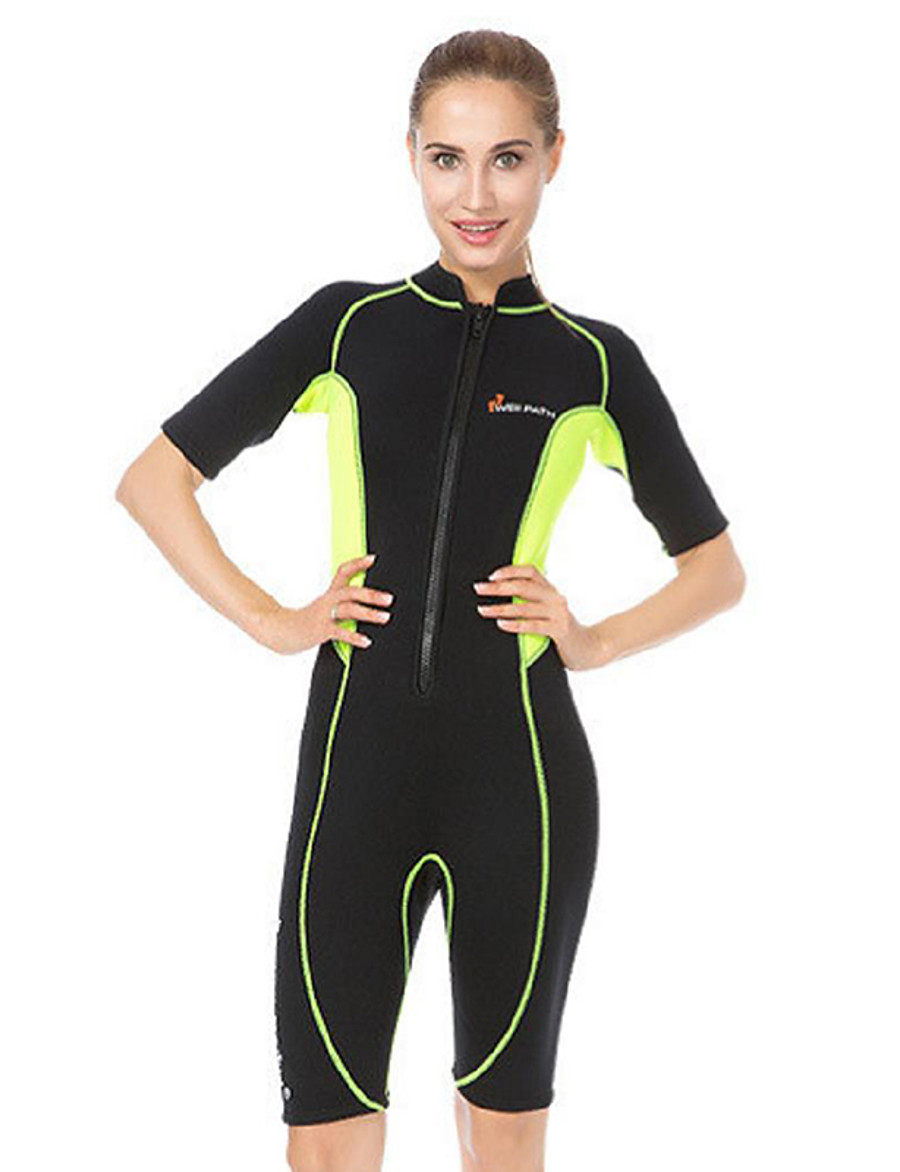 WELLPATH Women's Shorty Wetsuit 3mm Neoprene Diving Suit Thermal / Warm UV Sun Protection Ultraviolet Resistant Half Sleeve Front Zip - Diving Surfing Snorkeling Patchwork Spring Summer Fall / Winter