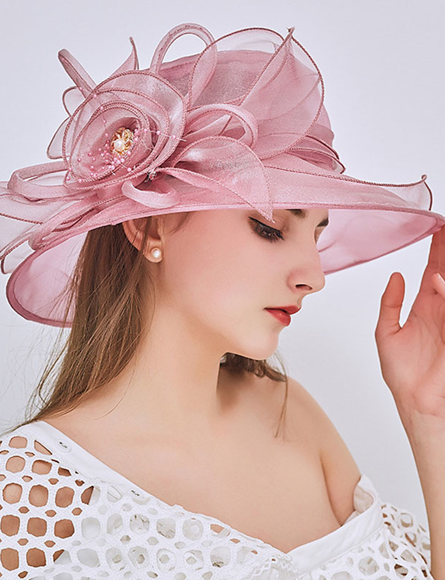Women's Party Hat Beaded Ruffle Party Street Holiday Wine Pink Pure Color Hat / Fall / Winter / Spring / Summer / Mesh