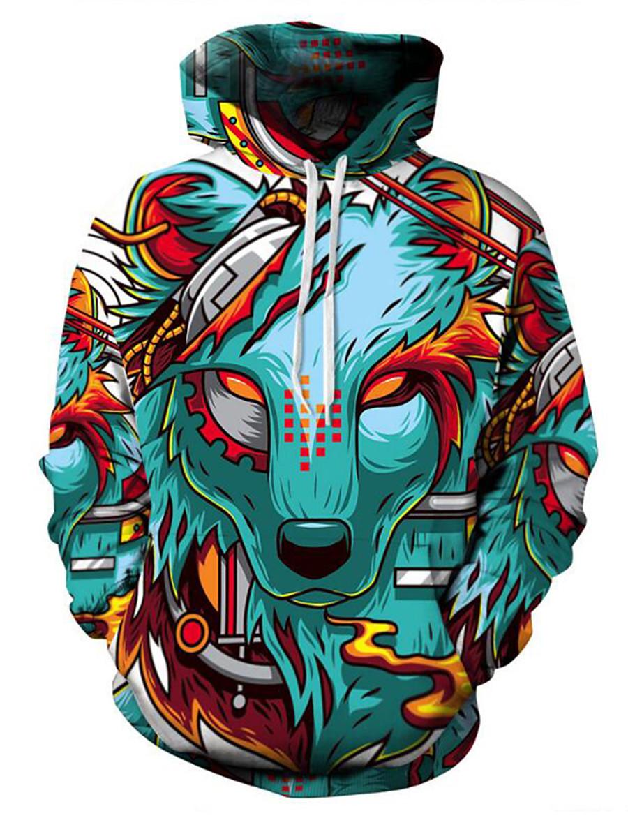 Men's Plus Size Hoodie Cartoon 3D Print Hooded Daily Basic Exaggerated Hoodies Sweatshirts  Long Sleeve Loose Green / Fall