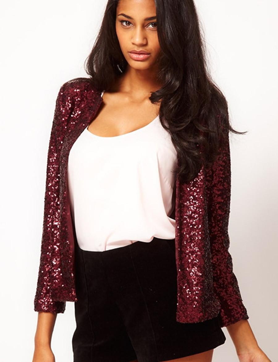 Women's Fall Jacket Short Color Block Daily Basic Sequins Black Purple Silver S M L XL