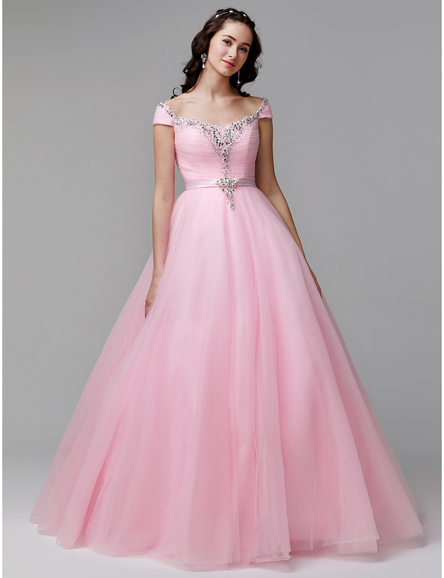 8d9cb609f8c ADOR Evening Dress Ball Gown Off Shoulder Floor Length Tulle   Stretch Satin  Lace Up with