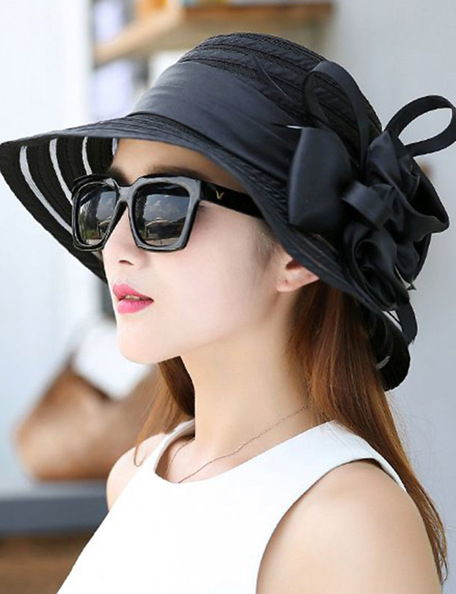 Women's Party Hat Ruffle Party Wedding Street Black White Solid Color Hat / Yellow / Red / Gray / Fall / Winter