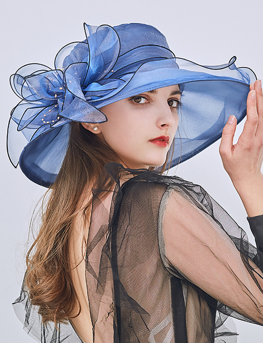 Women's Party Hat Flower Party Street Holiday Wine Beige Patchwork Hat / Blue / Khaki / Fall / Winter / Spring