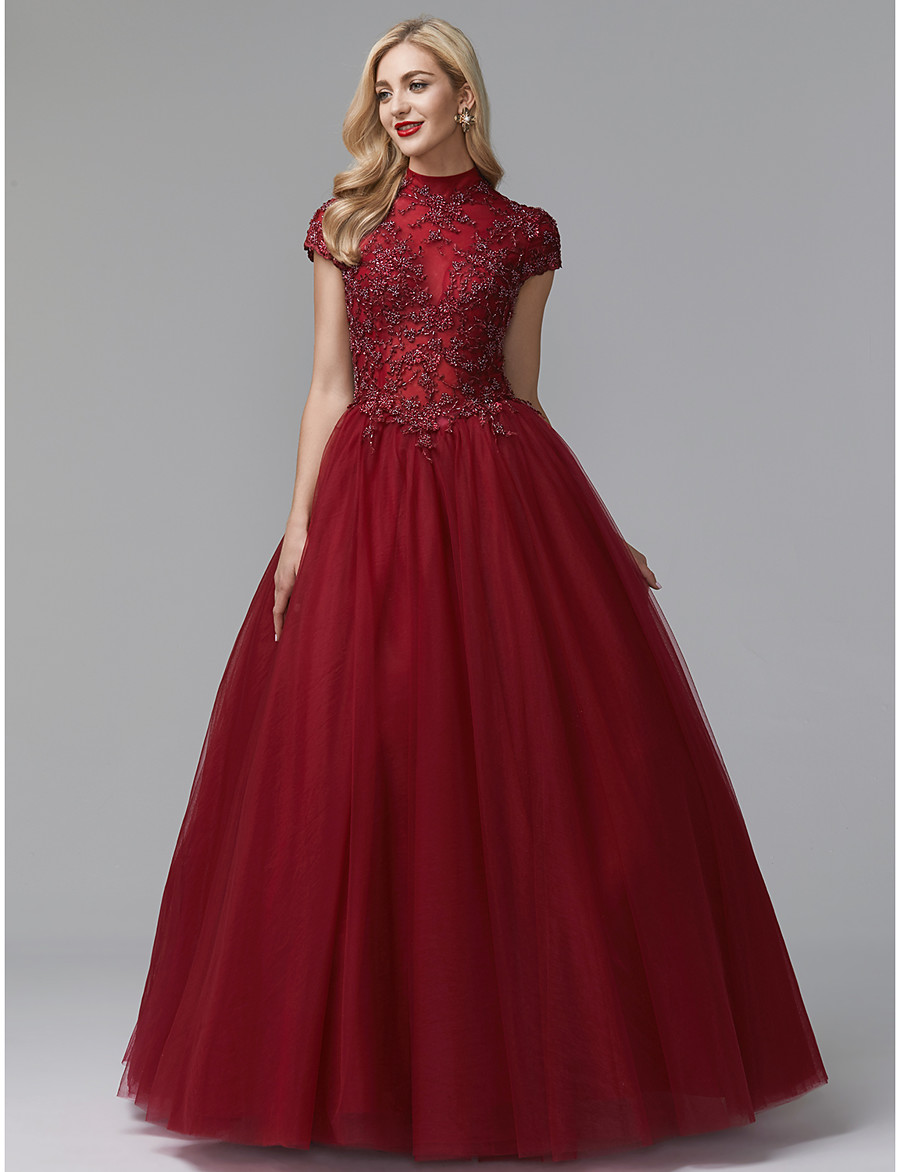 1b2ba460f1 ADOR Evening Dress Ball Gown High Neck Floor Length Satin   Tulle Vintage  Inspired with Beading