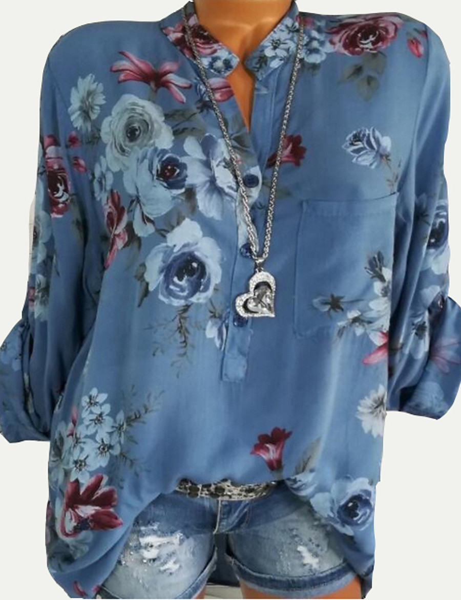 Women's Floral Shirt Going out White / Blue / Red / Blushing Pink / Green