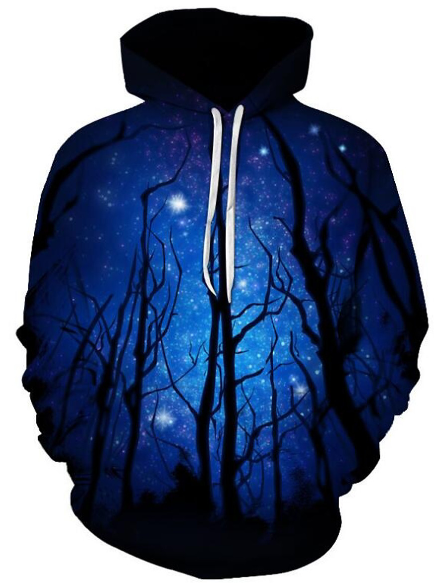 Men's Plus Size Hoodie Cartoon 3D Print Hooded Daily Going out Active Exaggerated Hoodies Sweatshirts  Long Sleeve Loose Black / Fall / Winter