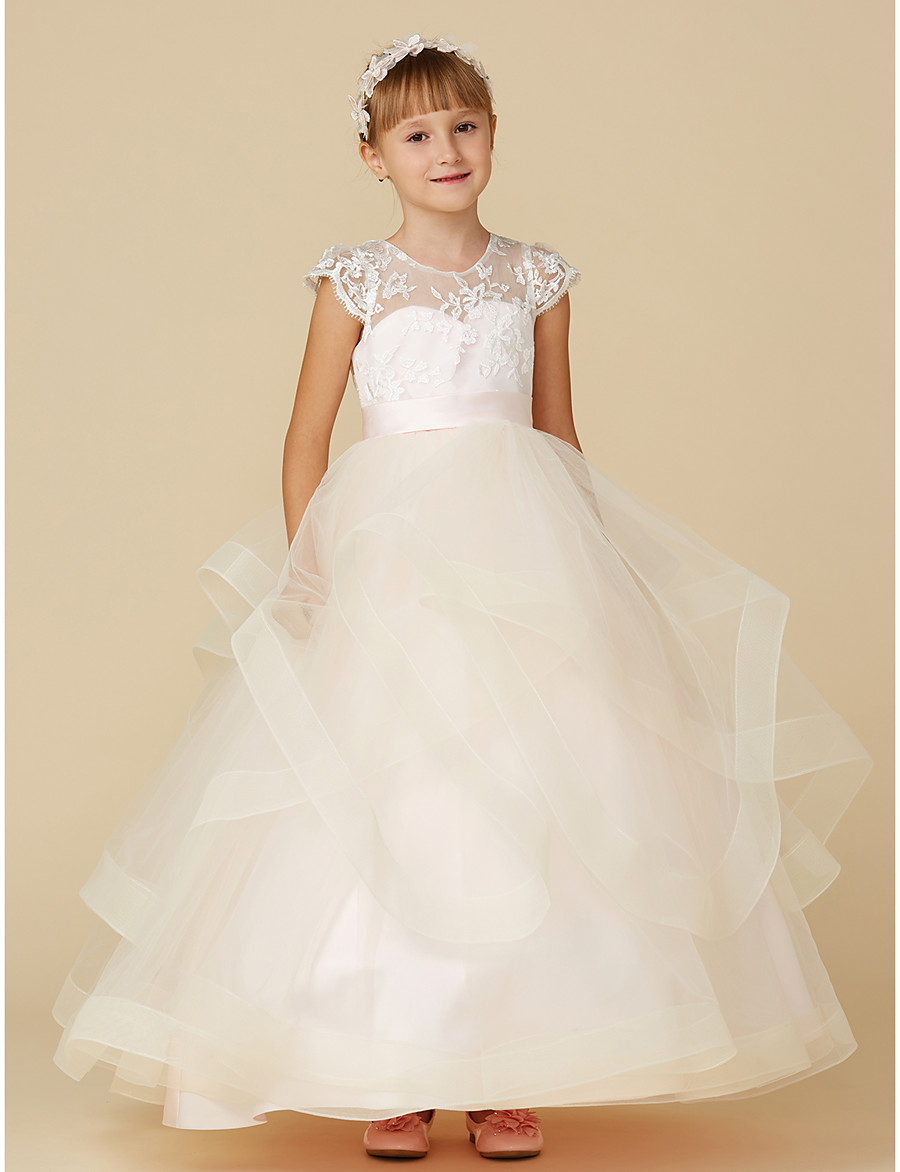 9012817888a ADOR Ball Gown Floor Length Flower Girl Dress - Lace   Tulle Short Sleeve  Illusion Neck