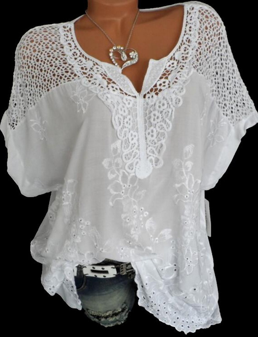 Women's Causal Loose Blouse - Solid Colored Lace V Neck Black / Summer