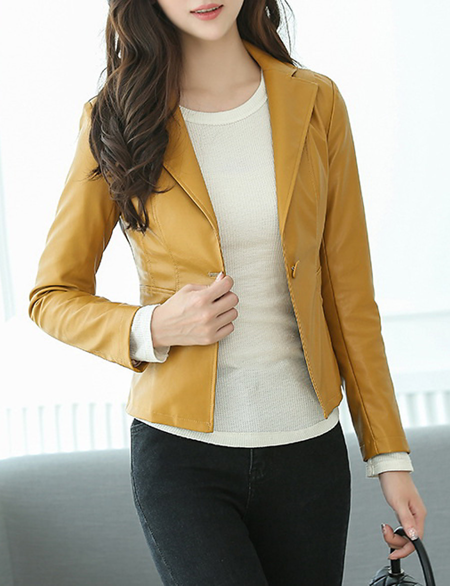 Women's Notch lapel collar Faux Leather Jacket Short Solid Colored Daily Black Yellow S M L XL / Work