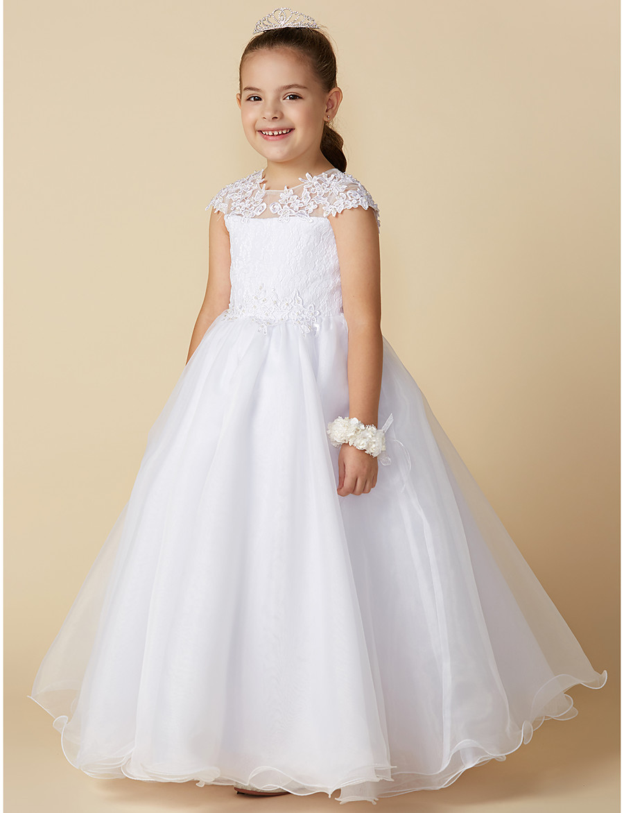 bafff2b4e ADOR Ball Gown Ankle Length Flower Girl Dress - Lace / Tulle Short Sleeve  Jewel Neck