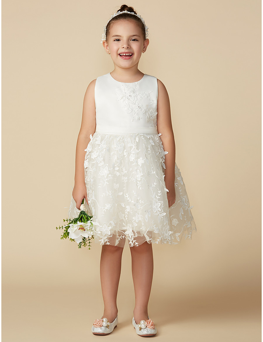 c12d08bd8a026 ADOR Princess Knee Length Flower Girl Dress - Satin / Tulle Sleeveless  Jewel Neck with Bow