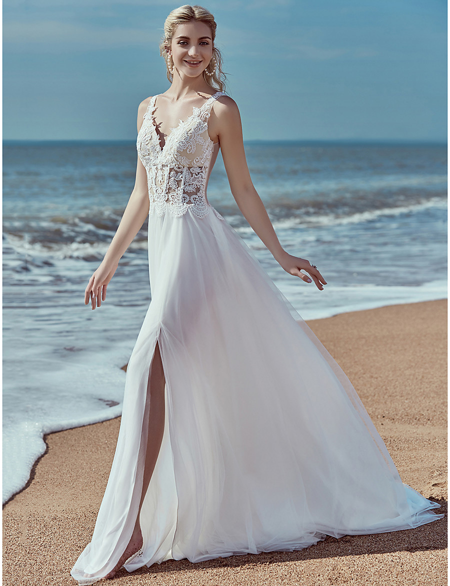 36d91a58045 ADOR A-Line V Neck Sweep / Brush Train Lace / Tulle Wedding Dresses with
