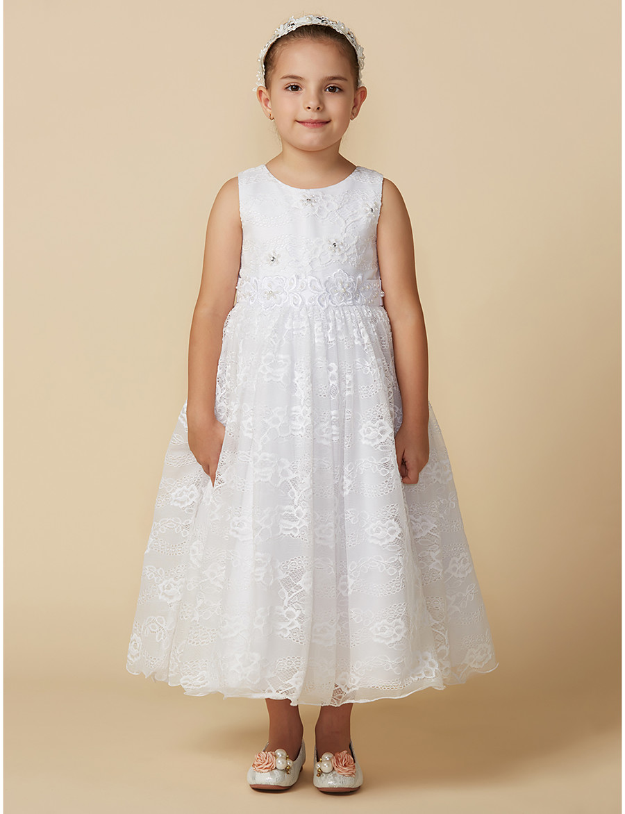 4999b73badb ADOR Princess Ankle Length Flower Girl Dress - Lace Sleeveless Jewel Neck  with Beading   Appliques