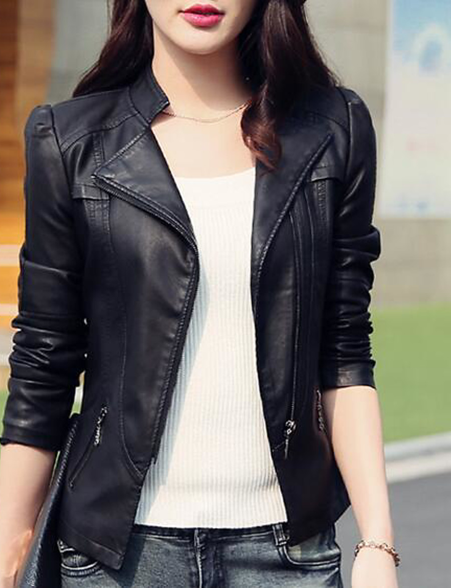Women's Daily Basic Short Leather Jacket, Solid Colored Stand Long Sleeve PU Black