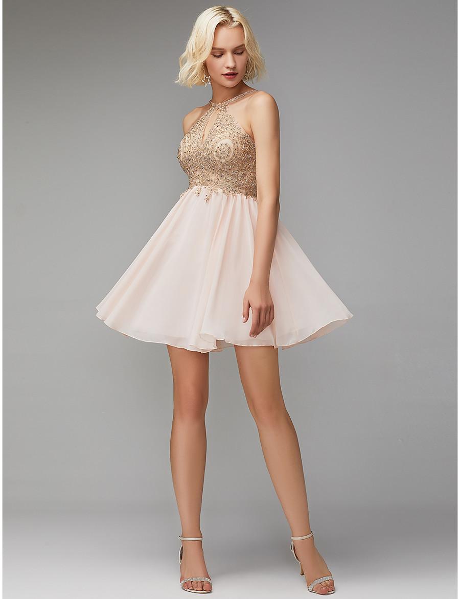 6a6603ade ADOR Cocktail Dress A-Line Jewel Neck Short / Mini Chiffon / Lace Open Back