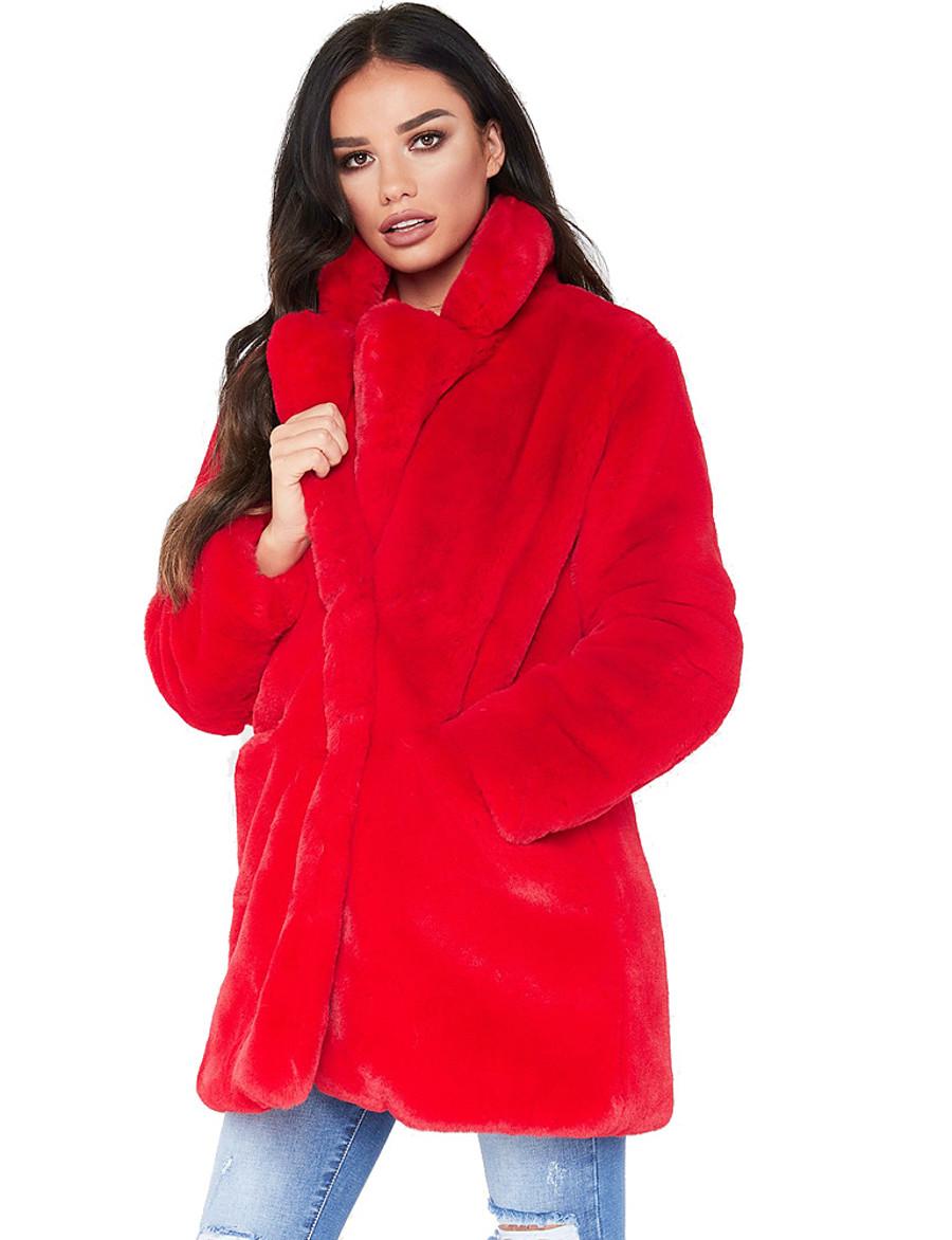 Women's Hidden Faux Fur Coat Long Solid Colored Daily Basic White Black Blue S M L