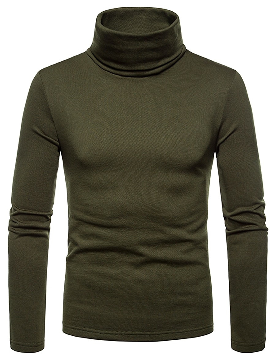 Men's Graphic Solid Colored T-shirt Daily Turtleneck Wine / Black / Army Green / Dark Gray / Brown / Navy Blue / Fall / Winter / Long Sleeve